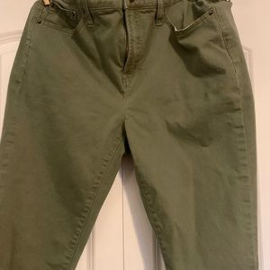J crew army green casual ankle pants.